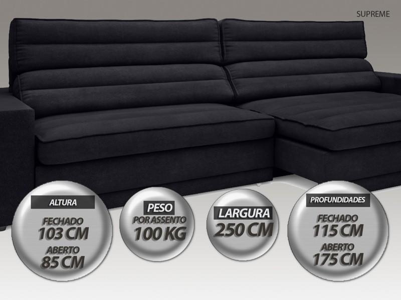 Sofá Supreme 2,50m Assento Retrátil e Reclinável Velosuede Preto - NETSOFAS  - NETSOFÁS