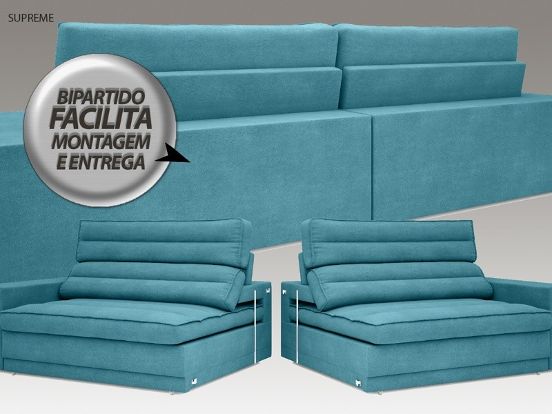 Sofá Supreme 2,50m Assento Retrátil e Reclinável Velosuede Turquesa - NETSOFAS  - NETSOFÁS