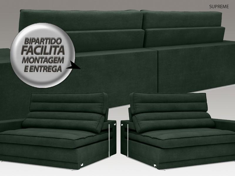Sofá Supreme 2,50m Assento Retrátil e Reclinável Velosuede Verde - NETSOFAS  - NETSOFÁS
