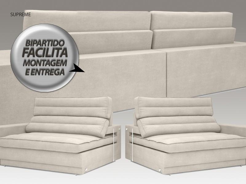Sofá Supreme 2,70m Assento Retrátil e Reclinável Velosuede Areia - NETSOFAS