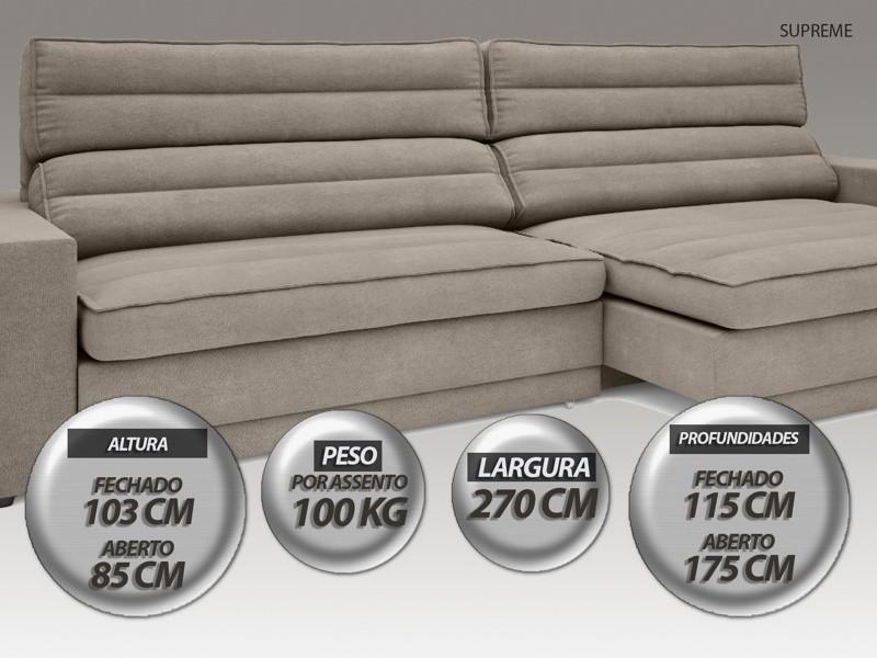 Sofá Supreme 2,70m Assento Retrátil e Reclinável Velosuede Bege - NETSOFAS