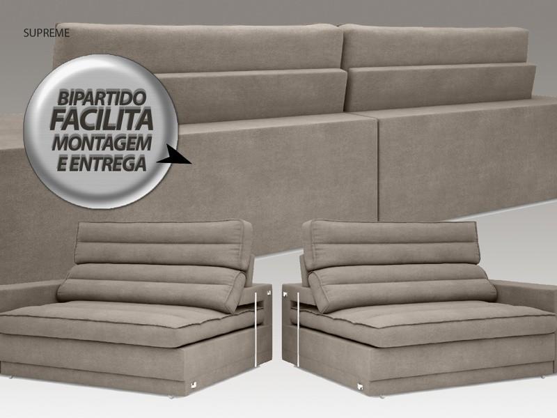 Sofá Supreme 2,70m Assento Retrátil e Reclinável Velosuede Bege - NETSOFAS  - NETSOFÁS