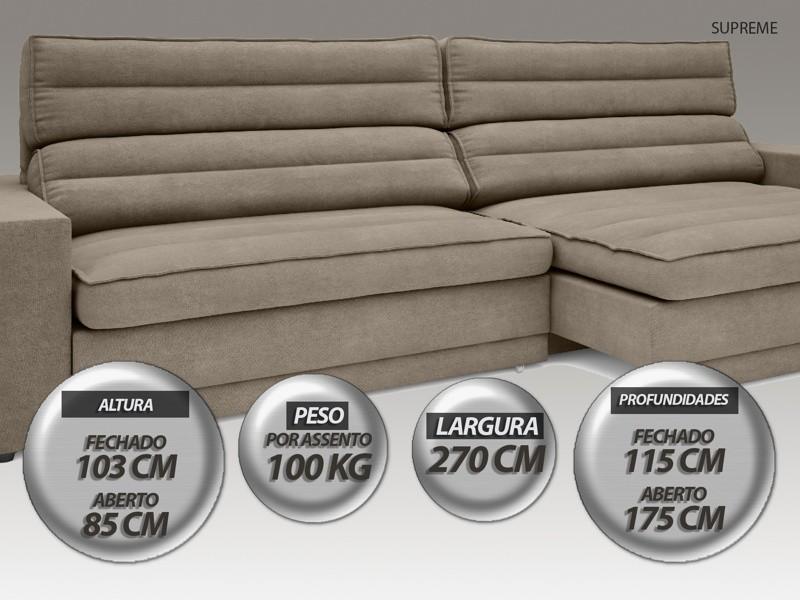 Sofá Supreme 2,70m Assento Retrátil e Reclinável Velosuede Capuccino - NETSOFAS