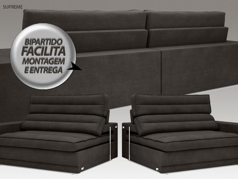 Sofá Supreme 2,70m Assento Retrátil e Reclinável Velosuede Chocolate - NETSOFAS