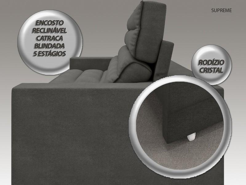 Sofá Supreme 2,70m Assento Retrátil e Reclinável Velosuede Cinza - NETSOFAS