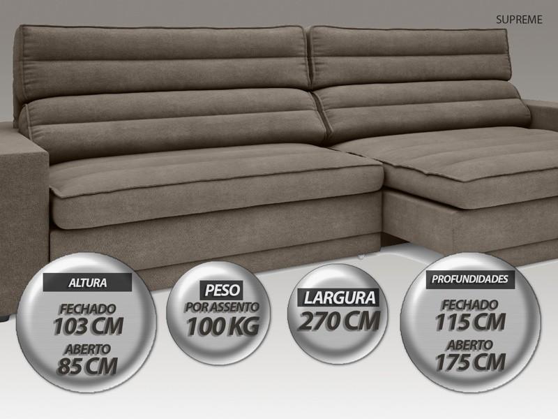 Sofá Supreme 2,70m Assento Retrátil e Reclinável Velosuede Marrom - NETSOFAS  - NETSOFÁS