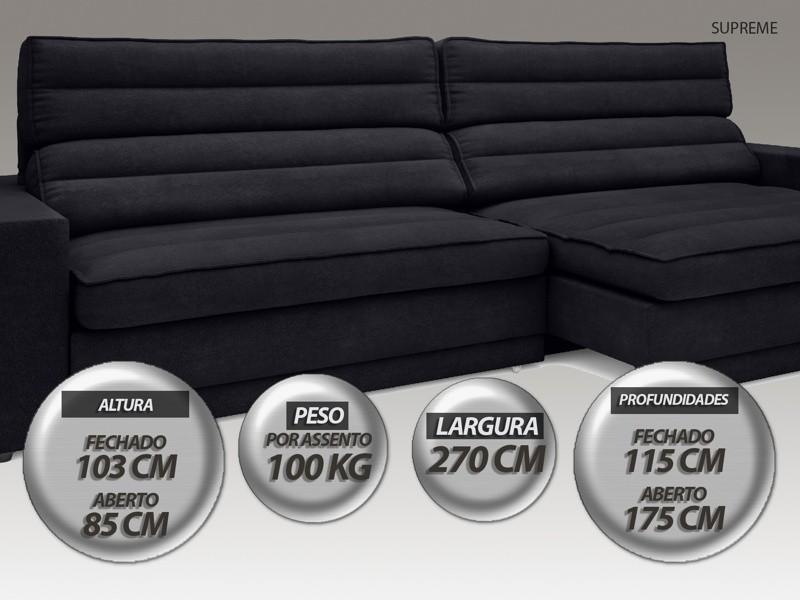 Sofá Supreme 2,70m Assento Retrátil e Reclinável Velosuede Preto - NETSOFAS  - NETSOFÁS