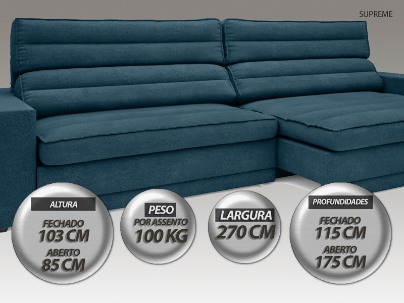Sofá Supreme 2,70m Assento Retrátil e Reclinável Velosuede Royal - NETSOFAS