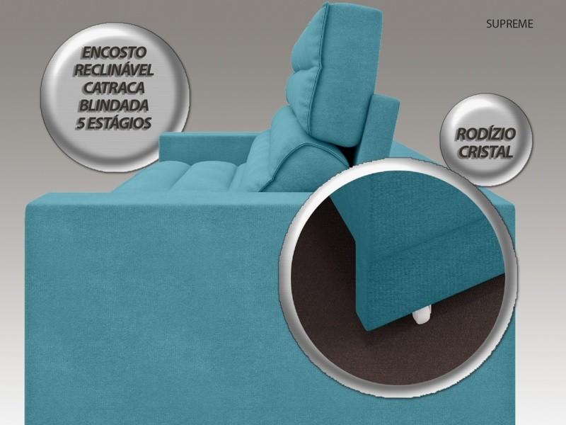 Sofá Supreme 2,70m Assento Retrátil e Reclinável Velosuede Turquesa - NETSOFAS