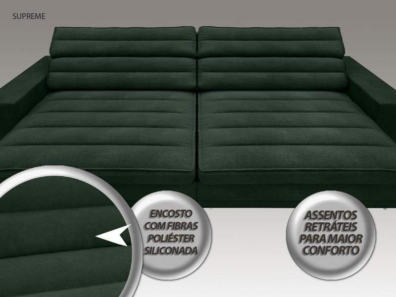 Sofá Supreme 2,70m Assento Retrátil e Reclinável Velosuede Verde - NETSOFAS