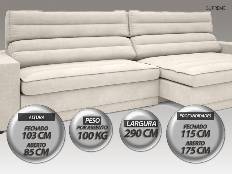 Sofá Supreme 2,90m Assento Retrátil e Reclinável Velosuede Areia - NETSOFAS  - NETSOFÁS