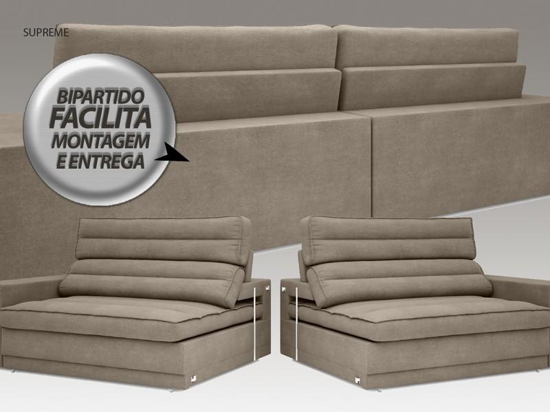 Sofá Supreme 2,90m Assento Retrátil e Reclinável Velosuede Capuccino - NETSOFAS