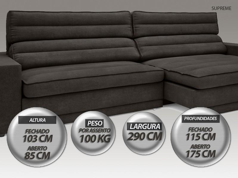 Sofá Supreme 2,90m Assento Retrátil e Reclinável Velosuede Chocolate - NETSOFAS
