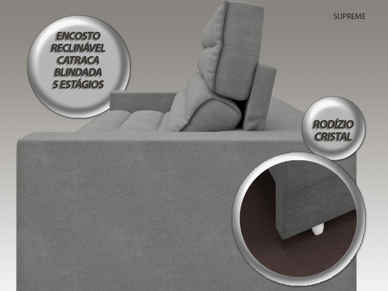 Sofá Supreme 2,90m Assento Retrátil e Reclinável Velosuede Grafite - NETSOFAS