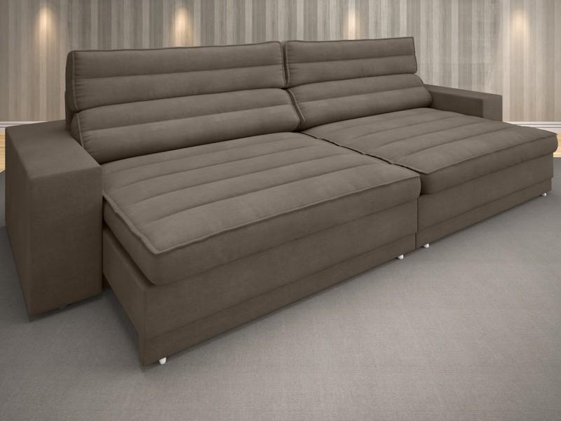Sofá Supreme 2,90m Assento Retrátil e Reclinável Velosuede Marrom - NETSOFAS