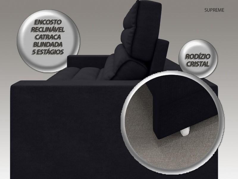 Sofá Supreme 2,90m Assento Retrátil e Reclinável Velosuede Preto - NETSOFAS  - NETSOFÁS