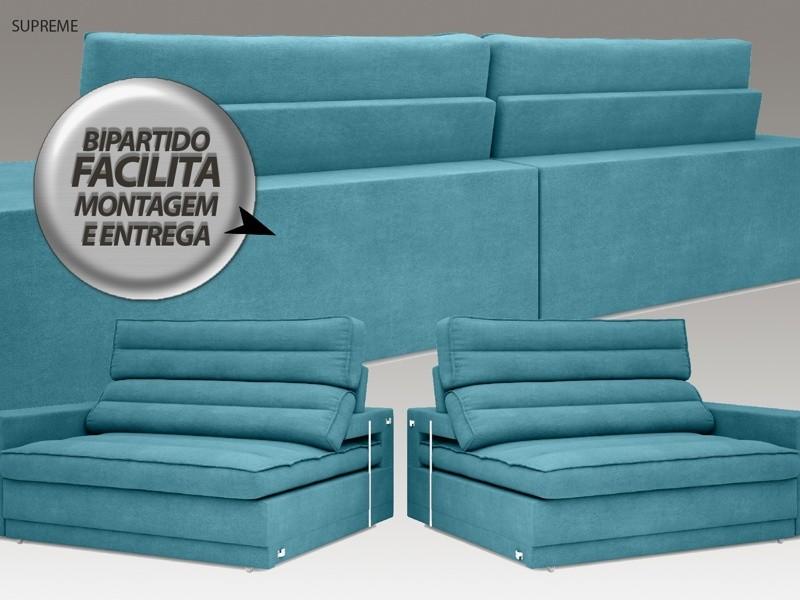 Sofá Supreme 2,90m Assento Retrátil e Reclinável Velosuede Turquesa - NETSOFAS