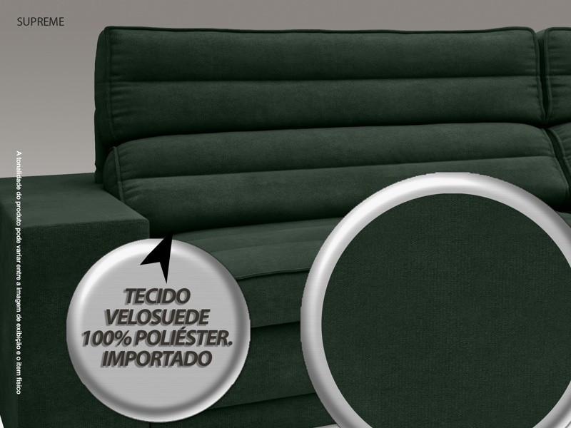 Sofá Supreme 2,90m Assento Retrátil e Reclinável Velosuede Verde - NETSOFAS