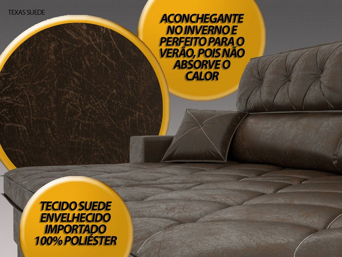 Sofá Texas 2,10m Retrátil e Reclinável Suede Envelhecido Chocolate - NETSOFAS