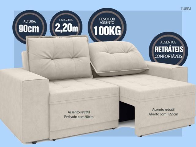 Sofá Turim 2,20m Assento com Molas Retrátil e Reclinável  Velosuede Areia - NETSOFAS