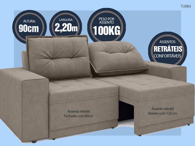 Sofá Turim 2,20m Assento com Molas Retrátil e Reclinável  Velosuede Bege - NETSOFAS