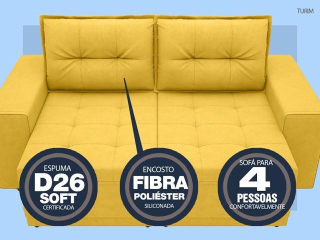 Sofá Turim 2,20m Assento com Molas Retrátil e Reclinável  Velosuede Canário - NETSOFAS