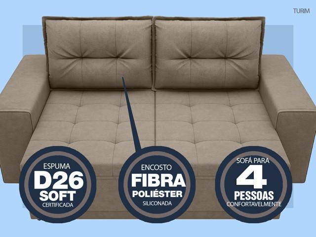 Sofá Turim 2,20m Assento com Molas Retrátil e Reclinável  Velosuede Capuccino - NETSOFAS  - NETSOFÁS