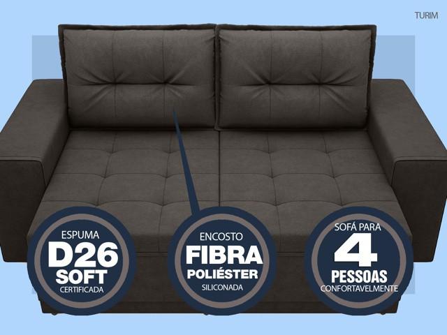 Sofá Turim 2,20m Assento com Molas Retrátil e Reclinável  Velosuede Chocolate - NETSOFAS