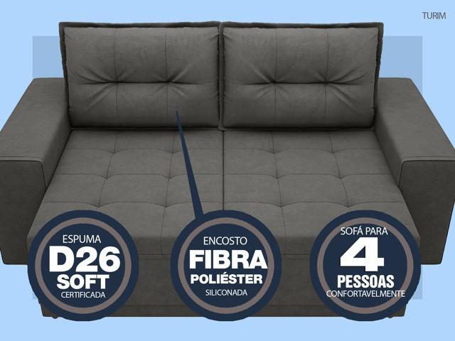 Sofá Turim 2,20m Assento com Molas Retrátil e Reclinável  Velosuede Cinza - NETSOFAS  - NETSOFÁS