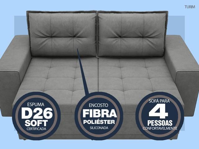 Sofá Turim 2,20m Assento com Molas Retrátil e Reclinável  Velosuede Grafite - NETSOFAS
