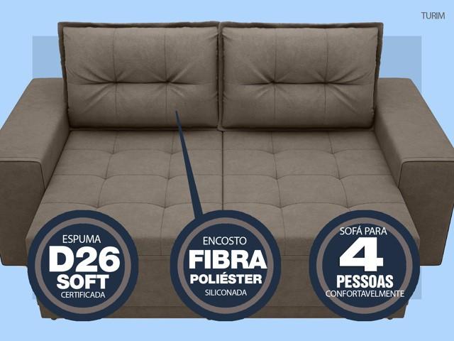 Sofá Turim 2,20m Assento com Molas Retrátil e Reclinável  Velosuede Marrom - NETSOFAS  - NETSOFÁS
