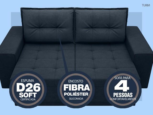 Sofá Turim 2,20m Assento com Molas Retrátil e Reclinável  Velosuede Petróleo - NETSOFAS  - NETSOFÁS