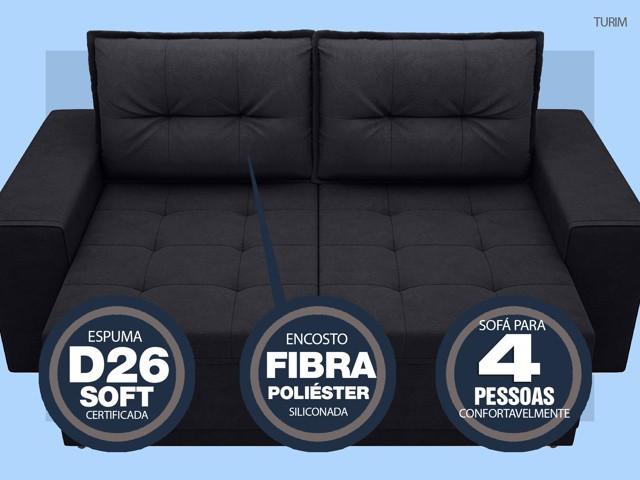 Sofá Turim 2,20m Assento com Molas Retrátil e Reclinável  Velosuede Preto - NETSOFAS  - NETSOFÁS