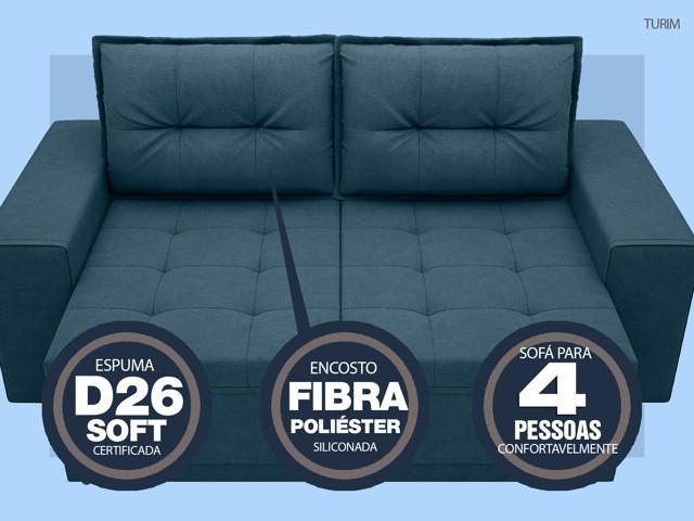 Sofá Turim 2,20m Assento com Molas Retrátil e Reclinável  Velosuede Royal - NETSOFAS  - NETSOFÁS