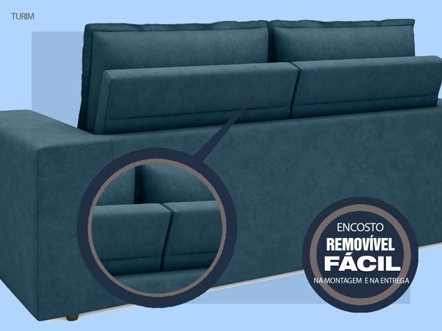 Sofá Turim 2,20m Assento com Molas Retrátil e Reclinável  Velosuede Royal - NETSOFAS