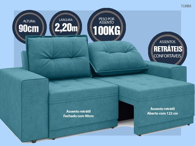 Sofá Turim 2,20m Assento com Molas Retrátil e Reclinável  Velosuede Turquesa - NETSOFAS  - NETSOFÁS