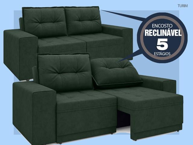Sofá Turim 2,20m Assento com Molas Retrátil e Reclinável  Velosuede Verde - NETSOFAS