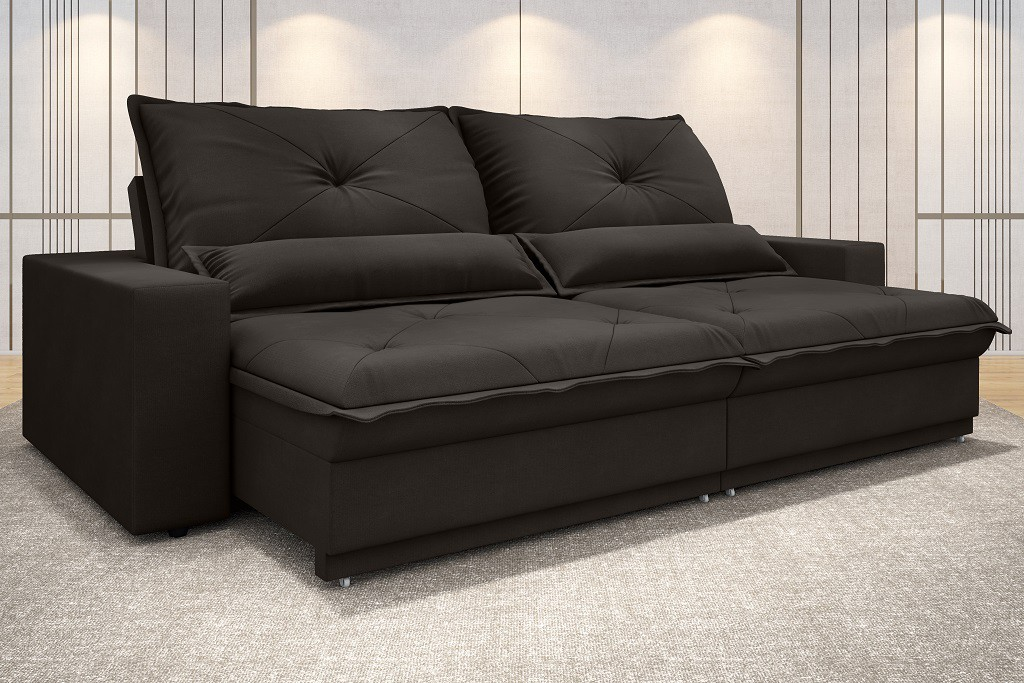 SOFÁ VOGUE 2,20M RETRÁTIL E RECLINÁVEL VELOSUEDE CHOCOLATE - NETSOFAS