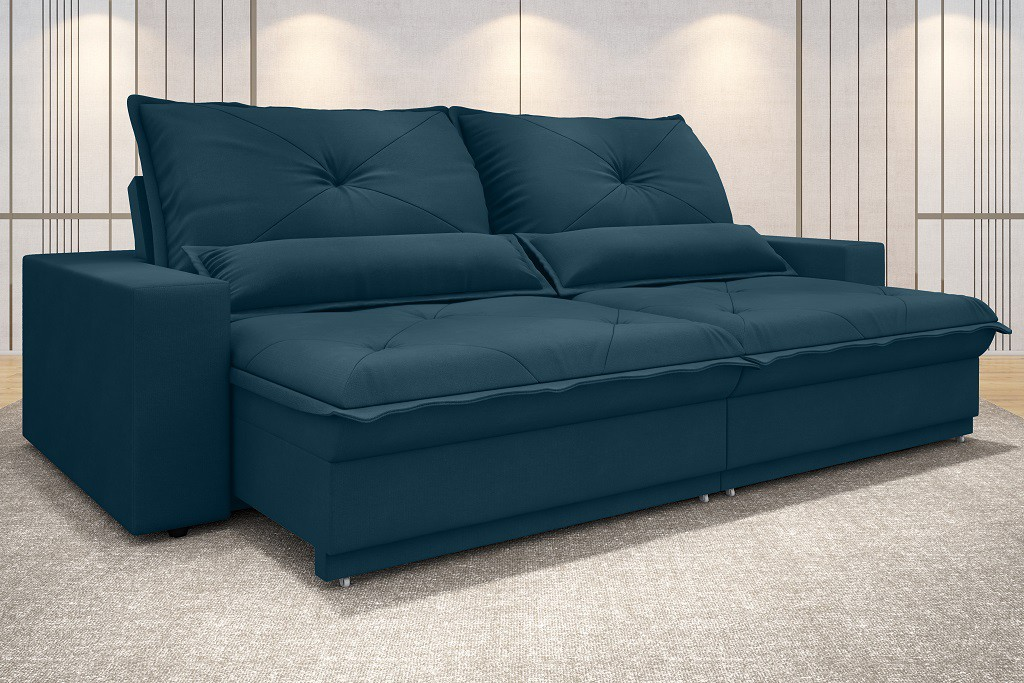 SOFÁ VOGUE 2,20M RETRÁTIL E RECLINÁVEL VELOSUEDE ROYAL - NETSOFAS