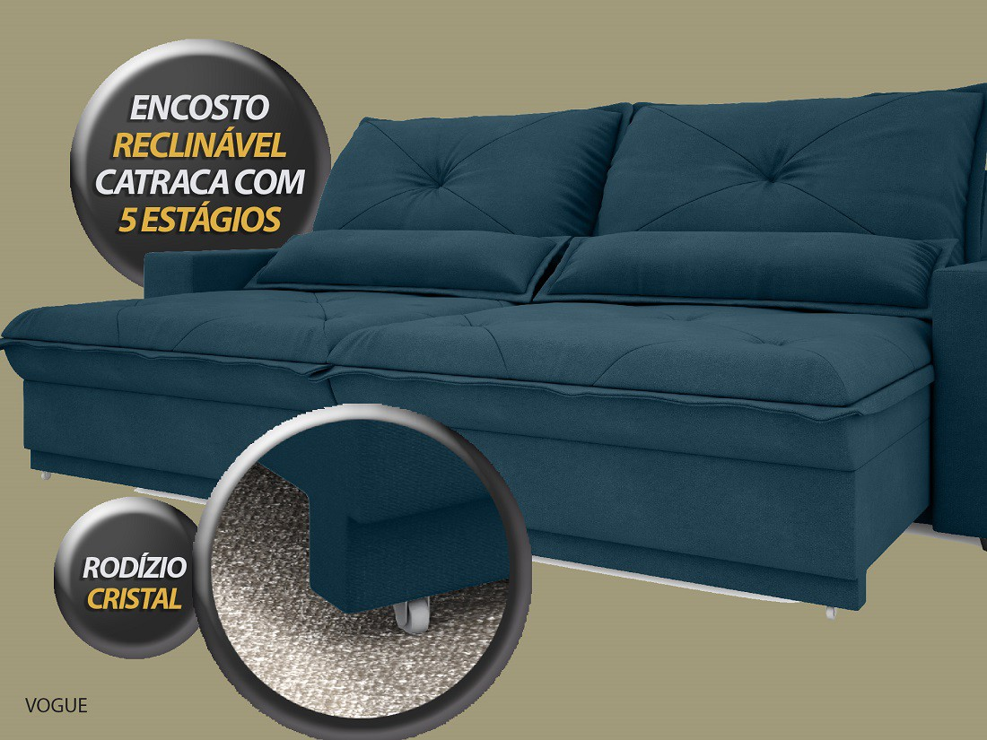 SOFÁ VOGUE 2,60M RETRÁTIL E RECLINÁVEL VELOSUEDE ROYAL - NETSOFAS
