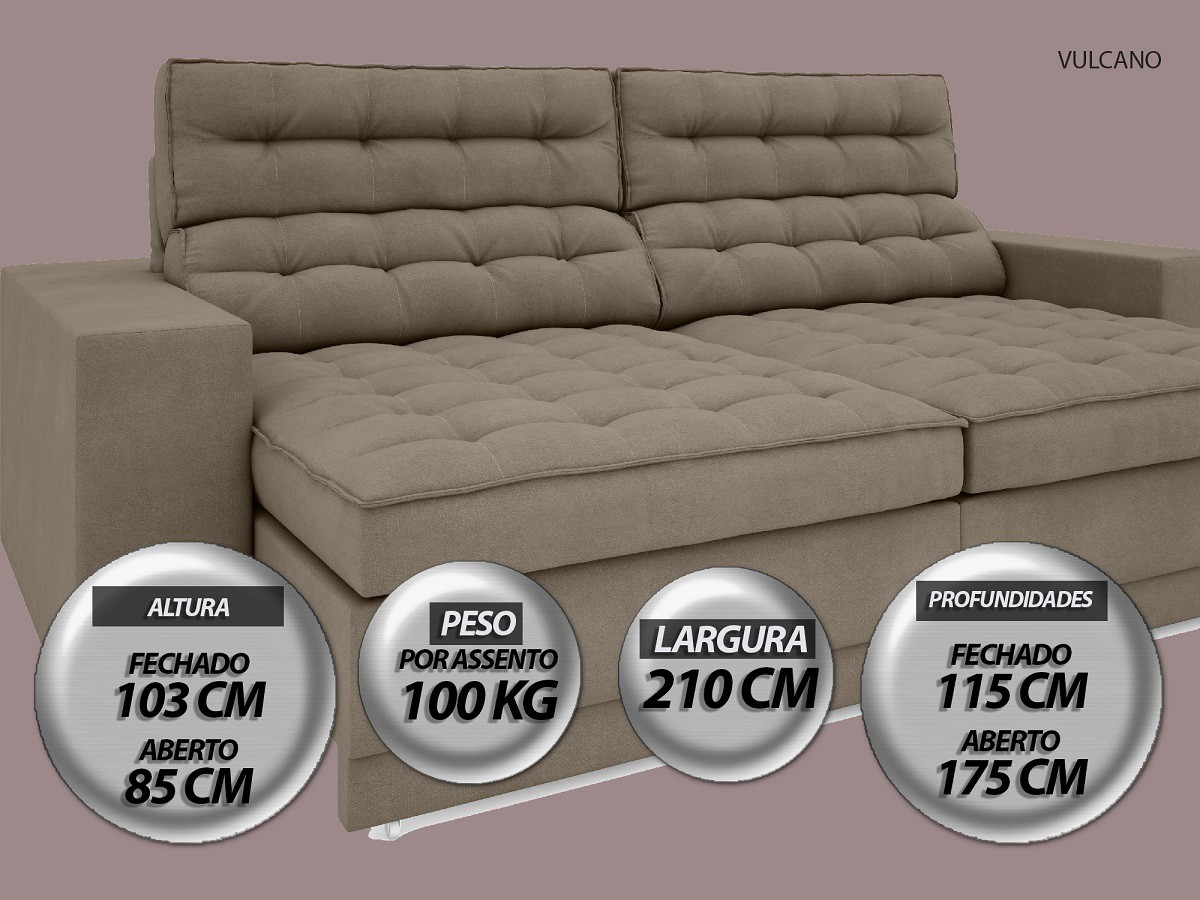 Sofá Vulcano 2,10m Assento Retrátil e Reclinável Velosuede Capuccino - NETSOFAS