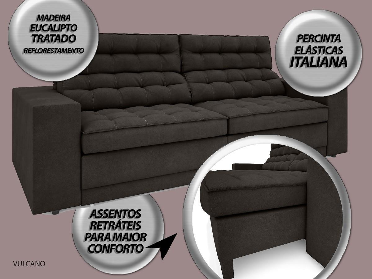 Sofá Vulcano 2,10m Assento Retrátil e Reclinável Velosuede Chocolate - NETSOFAS