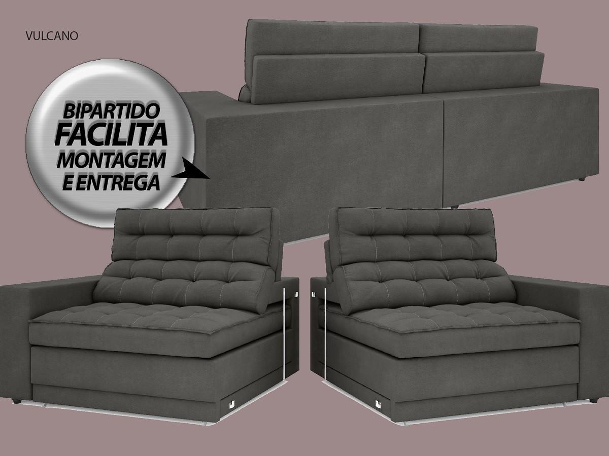 Sofá Vulcano 2,10m Assento Retrátil e Reclinável Velosuede Cinza - NETSOFAS