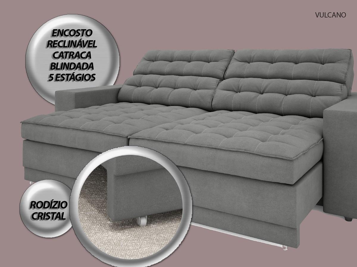 Sofá Vulcano 2,10m Assento Retrátil e Reclinável Velosuede Grafite - NETSOFAS