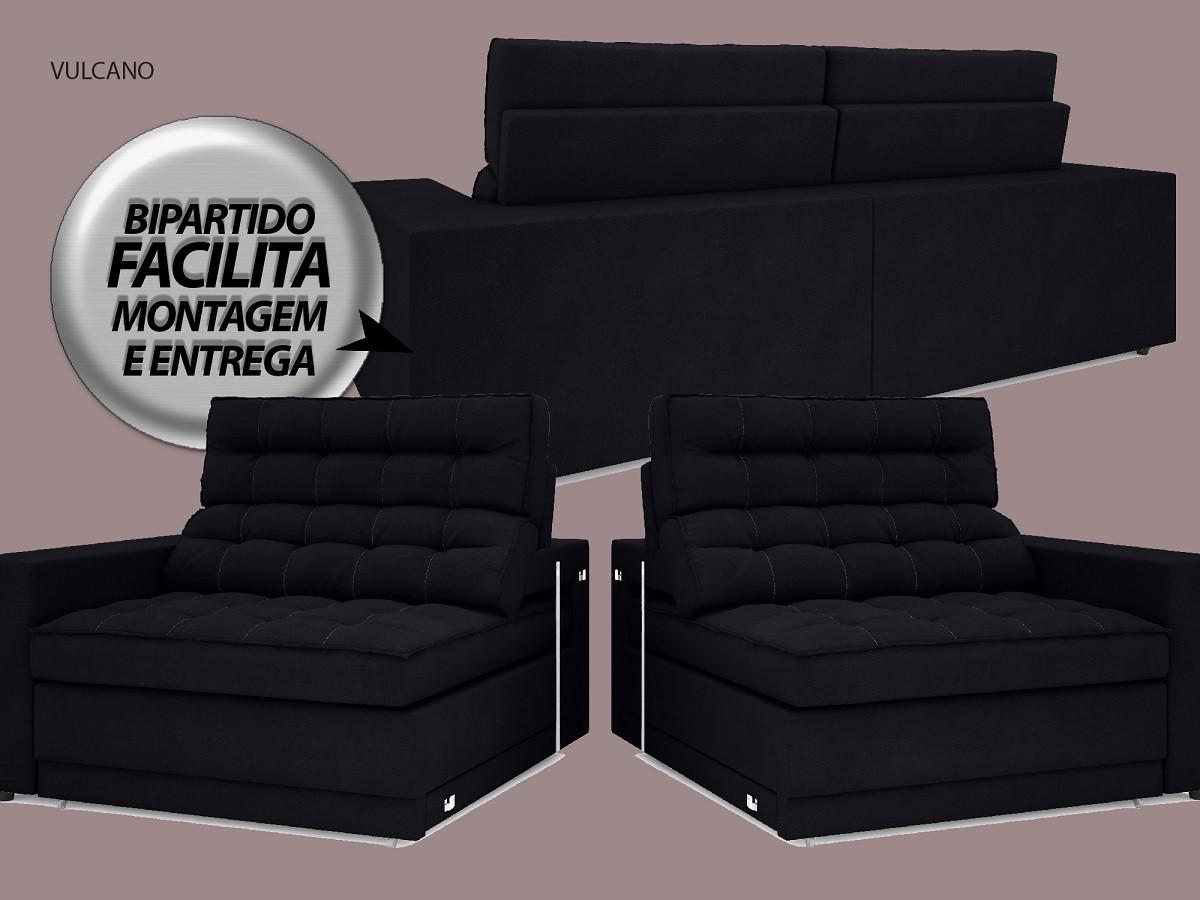 Sofá Vulcano 2,10m Assento Retrátil e Reclinável Velosuede Preto - NETSOFAS