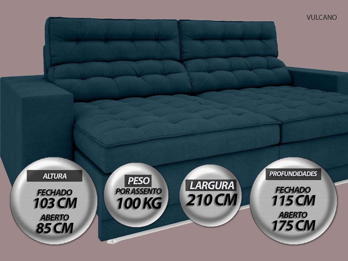 Sofá Vulcano 2,10m Assento Retrátil e Reclinável Velosuede Royal - NETSOFAS
