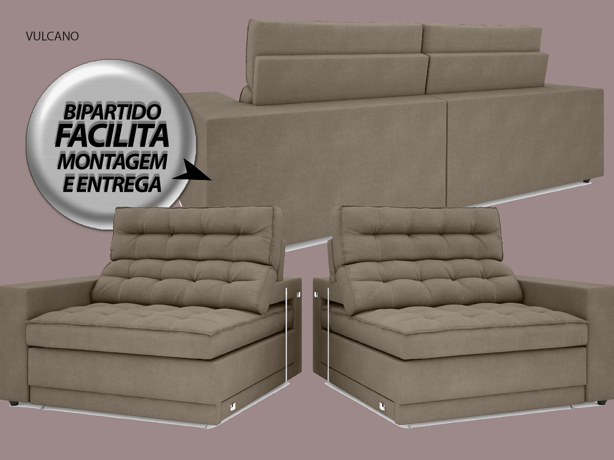 Sofá Vulcano 2,30m Assento Retrátil e Reclinável Velosuede Capuccino - NETSOFAS