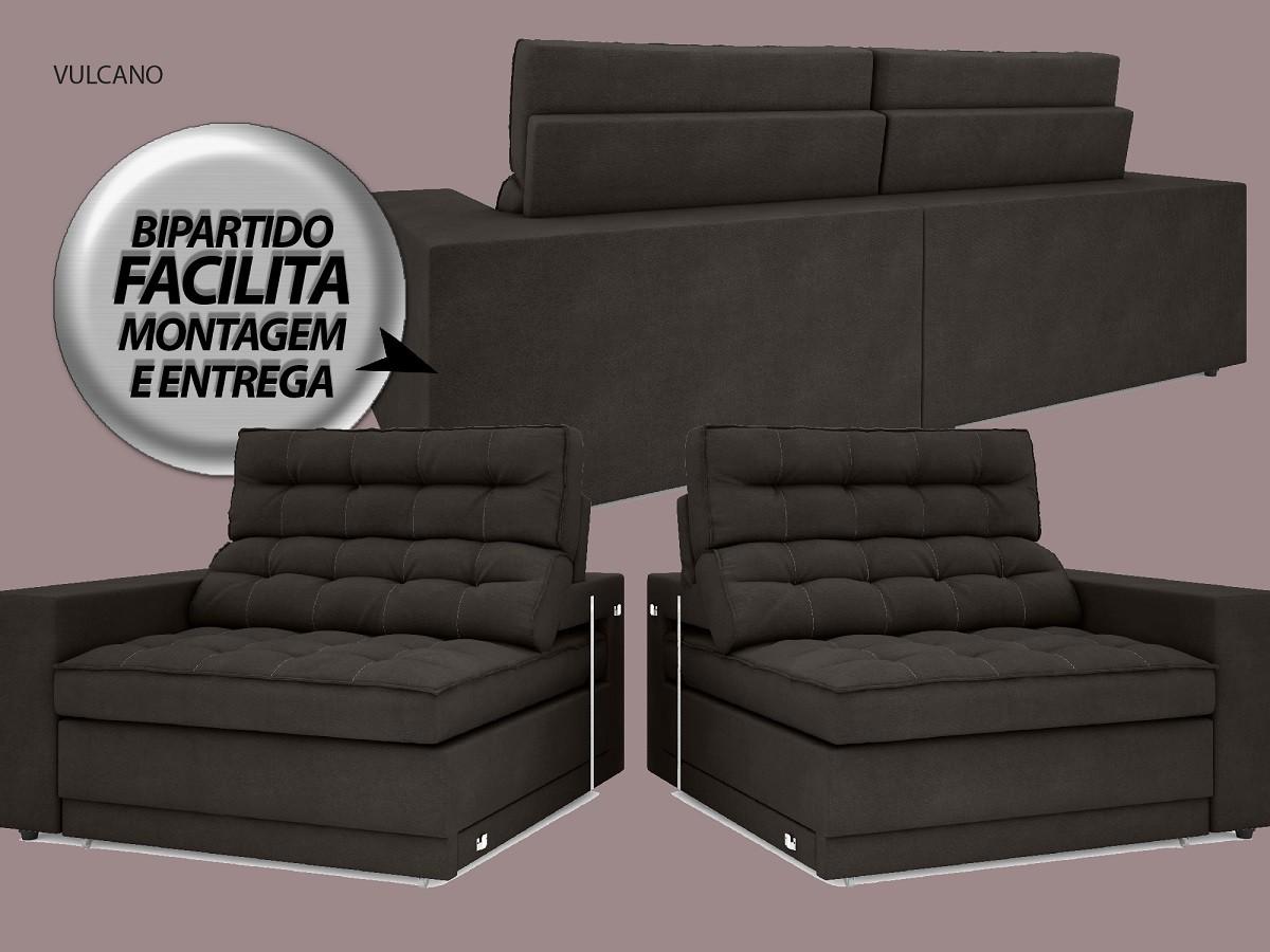 Sofá Vulcano 2,30m Assento Retrátil e Reclinável Velosuede Chocolate - NETSOFAS