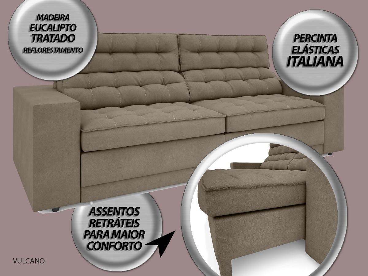Sofá Vulcano 2,50m Assento Retrátil e Reclinável Velosuede Capuccino - NETSOFAS
