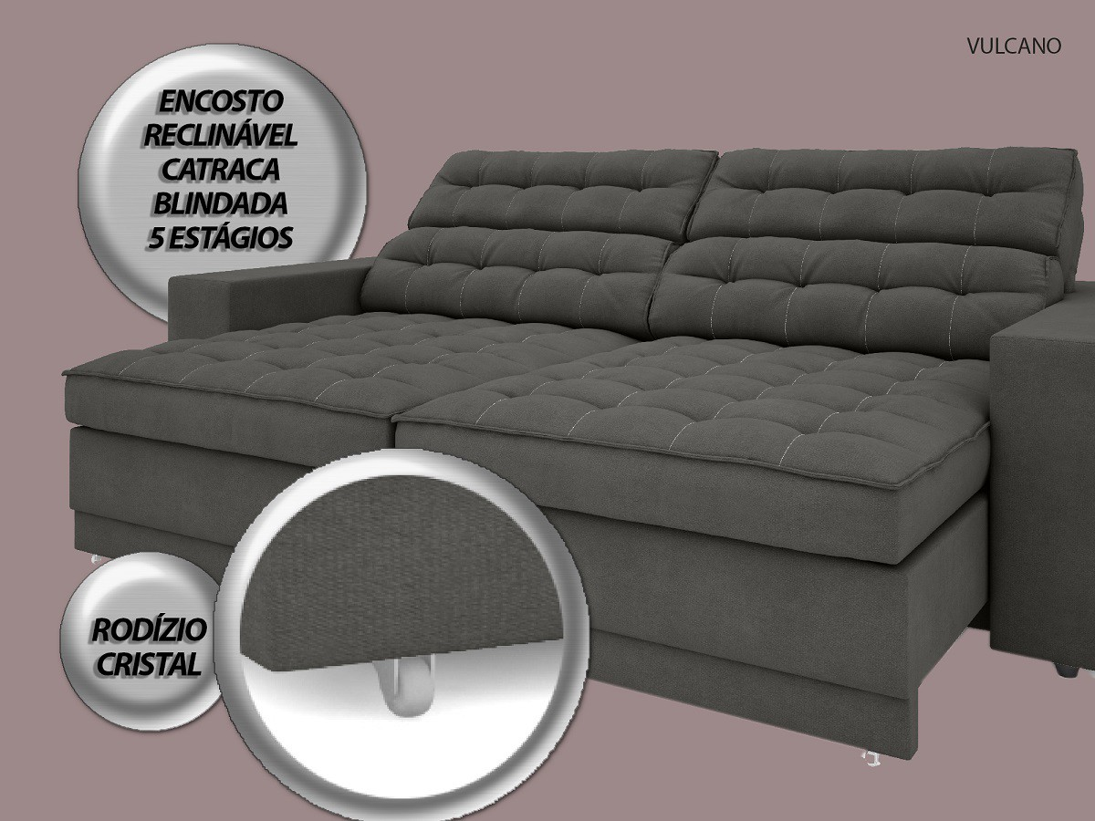 Sofá Vulcano 2,50m Assento Retrátil e Reclinável Velosuede Cinza - NETSOFAS  - NETSOFÁS